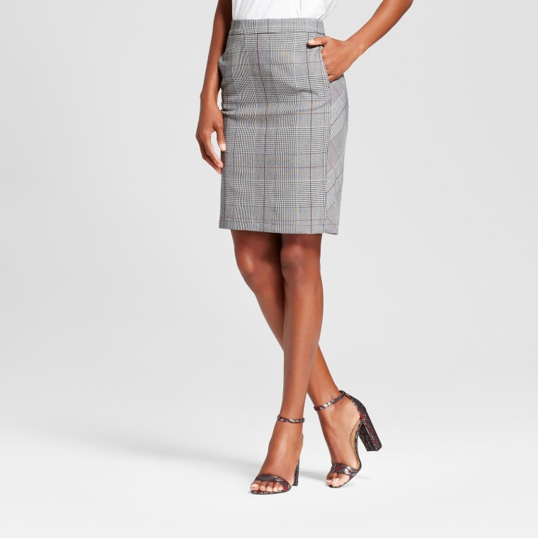 A New Day Gray Plaid Pencil Skirt