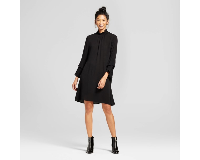 Soul Cake Double Tiered Sleeve Mock Neck Dress