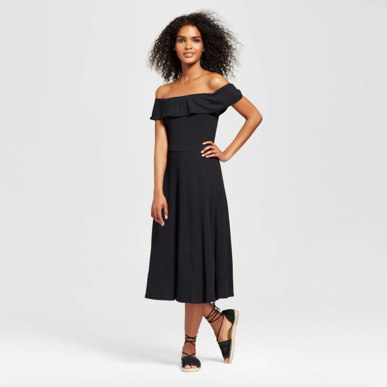 Who What Wear Rib Bardot Dress