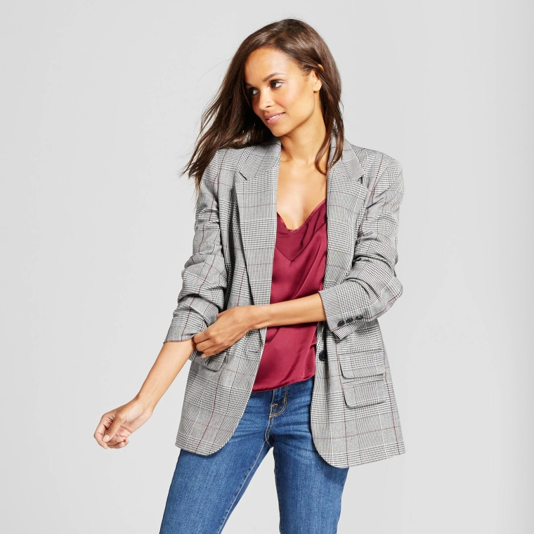 A New Day Gray Plaid Boyfriend Blazer