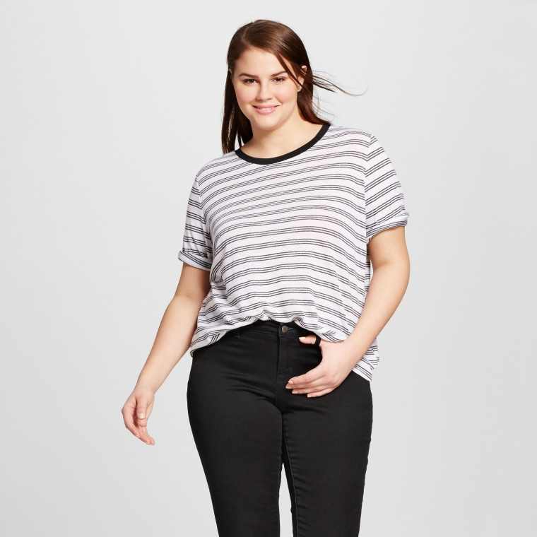 Who What Wear Plus Size Rib Trim Elbow Sleeve T-Shirt