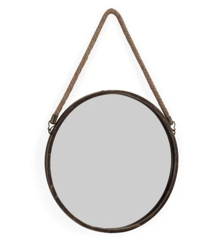 Round hanging wall mirror