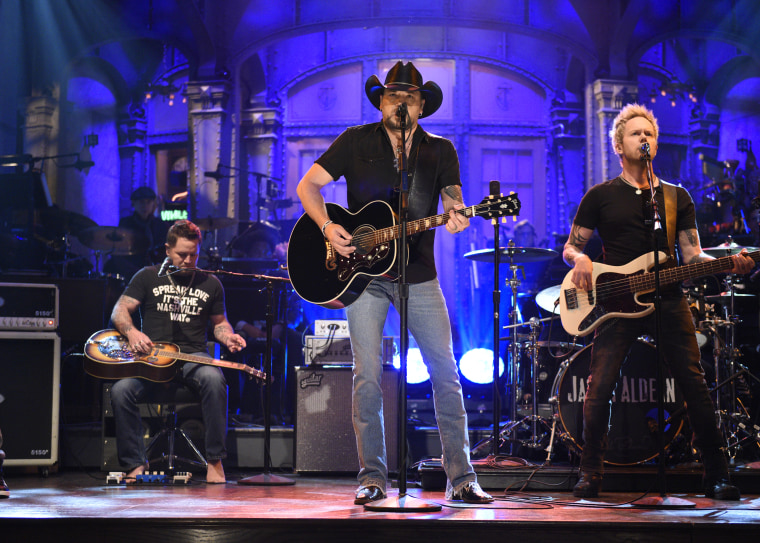 Jason Aldean performing on Saturday Night Live on October 7.