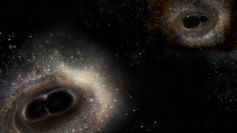 This artist's illustration depicts the merging black hole binary systems for GW150914 (left image) and GW151226 (right image).