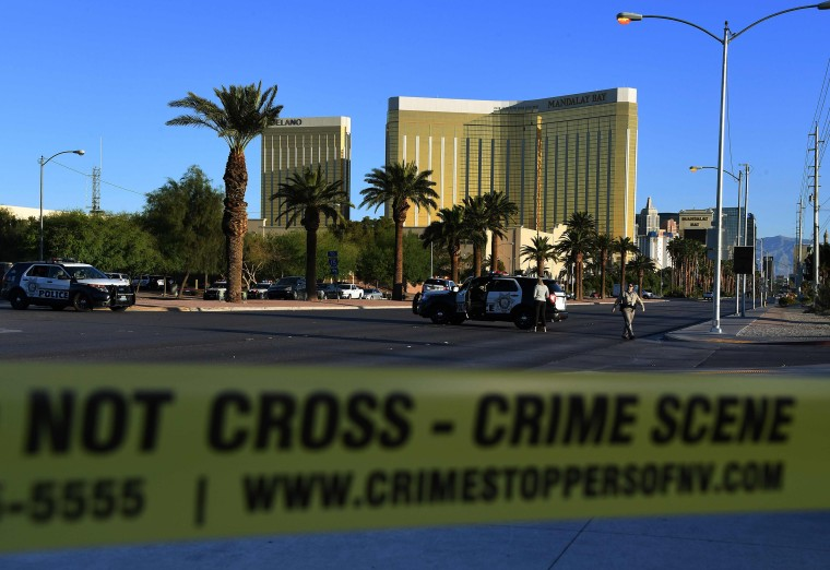 Image: Crime scene tape surrounds the Mandalay Hotel after a gunman killed at least 50 people and wounded more than 400 others when he opened fire on a country music concert in Las Vegas, Nevada on Oct. 2, 2017.