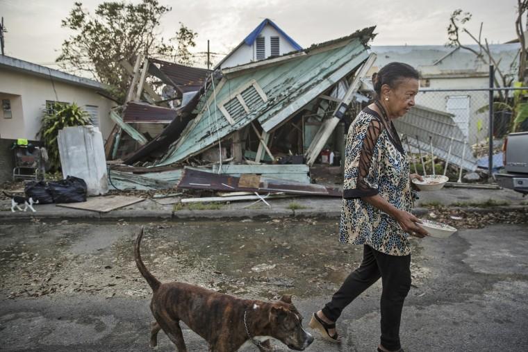 Image: Elizabeth Parilla feeds her pets in front of her damaged home, in the Santurce neighborhood of San Juan, Puerto Rico.