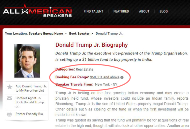 Image: Donald Trump Jr. listed on All American Speakers website