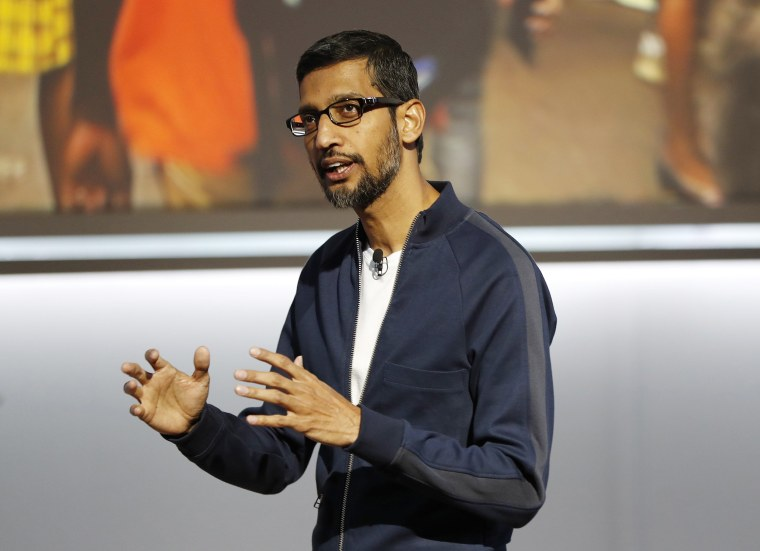 Image: Google Inc CEO Sundar Pichai speaks during a launch event in San Francisco