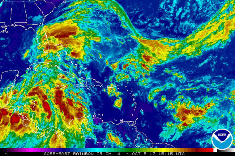 A satellite image shows a tropical depression off the coast of Central America on Thursday.