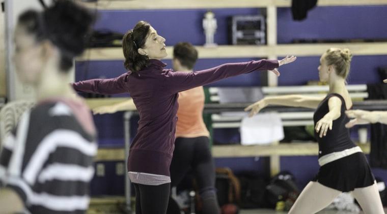 Miami City Ballet Artistic Director, Lourdes Lopez, coaching dancers.