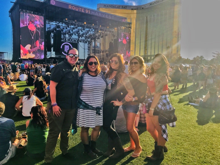 Allison Gardner (far left) and Jacqulyn Lopez (second from left) with friends at the Harvest Festival in Las Vegas, Nevada, prior to Sunday's mass shooting.