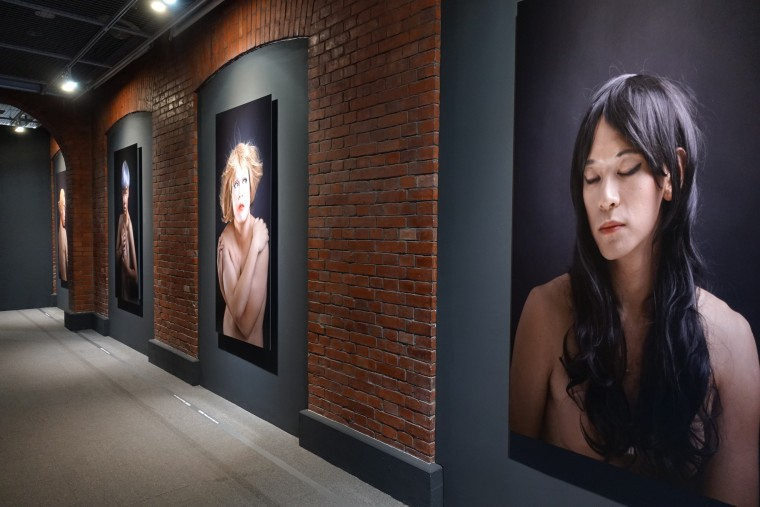 "Artwork by Wen Hsin on display at the ""Spectrosynthesis ─ Asian LGBTQ Issues and Art Now"" exhibit at the Museum of Contemporary Art, Taipei (MOCA)."