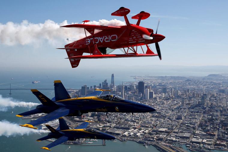 Image: U.S. Navy Blue Angels flight demonstration squadron fly over San Francisco Bay in San Francisco, California