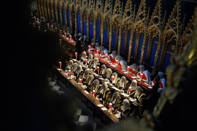 Image: A group of High Court Judges sit in Westminster Abbey during the annual service to mark the start of the legal year