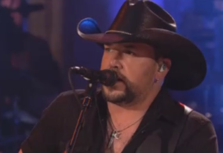 "In this image taken from video, Jason Aldean is seen performing on ""Saturday Night Live"" on Oct. 7, 2017."