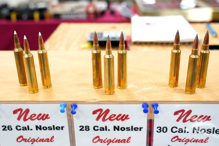 Image: Ammunition are displayed for sale at the Guntoberfest gun show in Oaks, Pennsylvania
