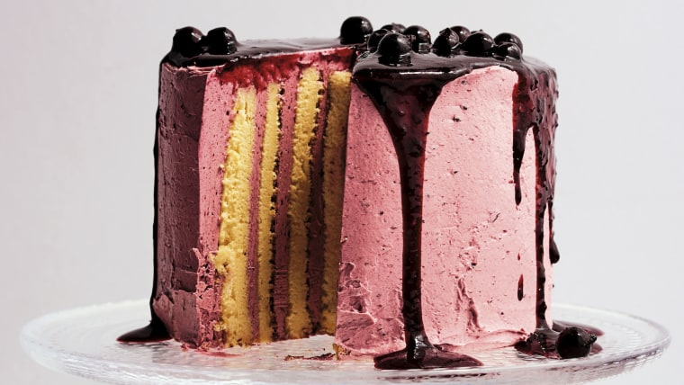 Lemon and Black Currant Stripe Cake
