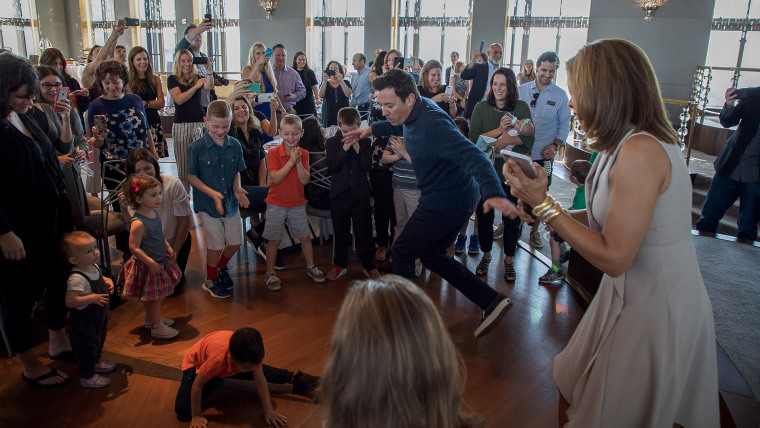 Fallon and Kotb have an epic dance party with the event's young attendees.