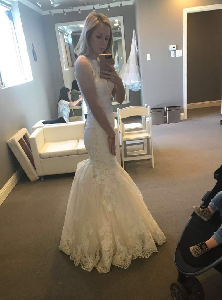 """My gorgeous dream dress at my last alterations appointment,"" Armstrong captioned this photo on Facebook."