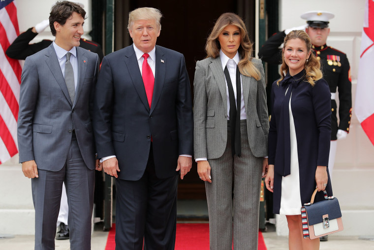 President Trump And First Lady Welcome Canadian Prime Minister Justin Trudeau And His Wife Gregoire To The White House