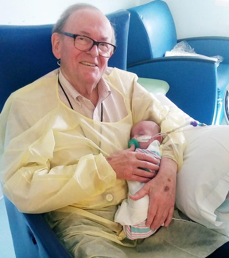 David Deutchman, 82, holding Logan Brulotte, 5 months.