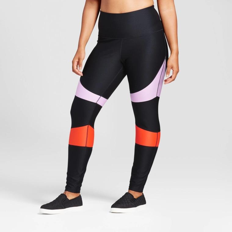 JoyLab Women's Plus High Waist Color Block Performance Leggings