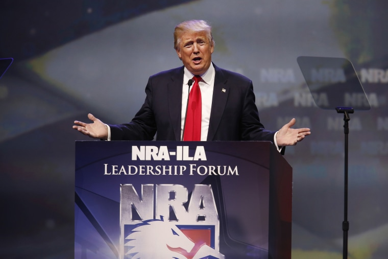 Image: Presumptive Republican Presidential Nominee Donald Trump Speaks At The National Rifle Association Annual Meeting