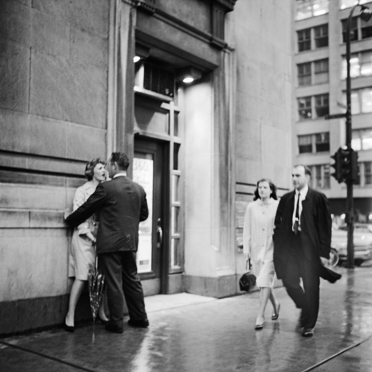 Image: A couple argues on a Chicago street, circa 1960s.