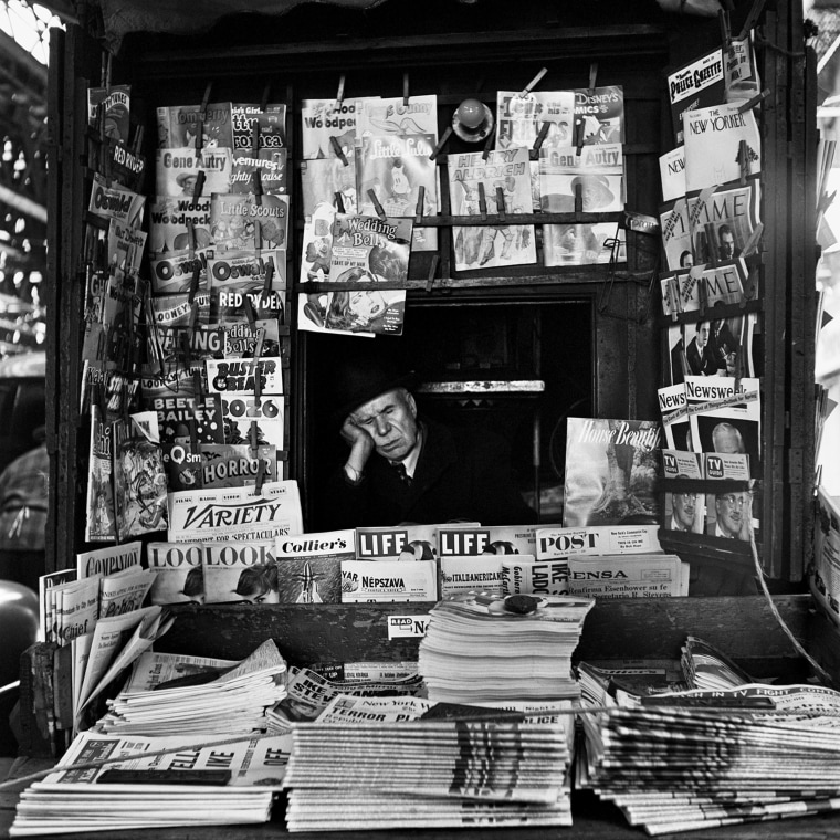Image: A newsstand vendor in New York, 1954.