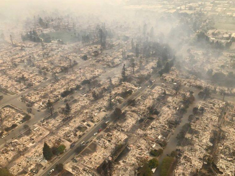 Image: An aerial photo of the devastation left behind from the North Bay wildfires north of San Francisco