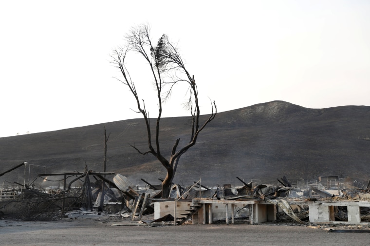 Image: Burnt structures are seen at the historic Stornetta Dairy along Highway 12 during the Nuns Fire in Sonoma, California