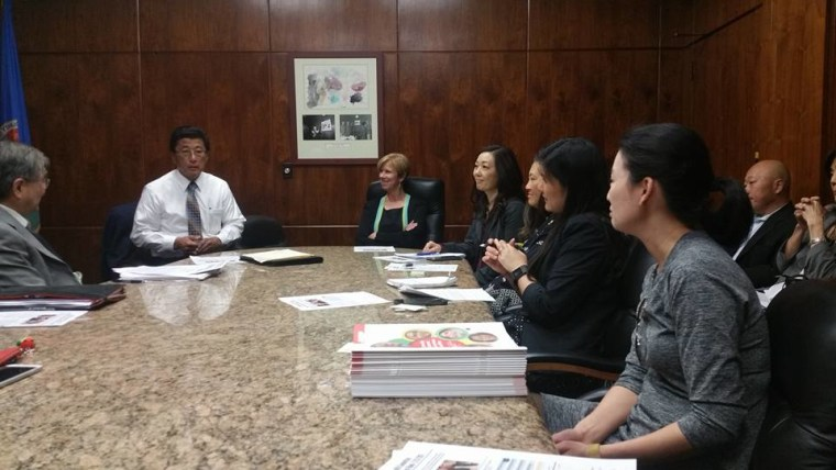 Members of A3PCON discuss mental health needs in the AAPI community with LA County Supervisor Janice Hahn.