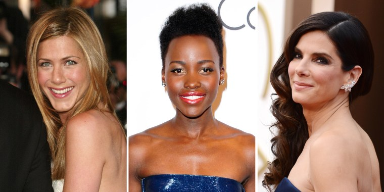 Image: Jennifer Aniston in 2004 in Cannes, France; Lupita Nyong'o in 2014; Sandra Bullock om 2014.