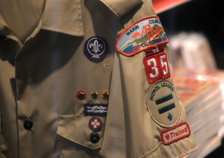 Image: A Boy Scout uniform hangs in a store at the Marin Council of the Boy Scouts of America