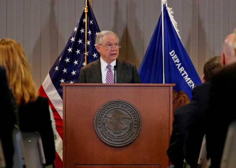 Image: Sessions delivers remarks on the U.S. system for asylum-seekers at the Executive Office for Immigration Review in Falls Church, Virginia