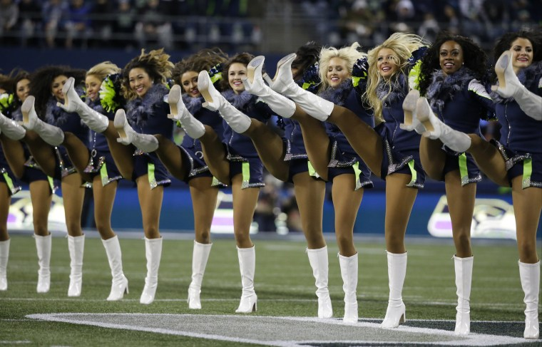 Seattle Seahawks Sea Gals cheerleaders perform before a 2016 game against the Carolina Panthers in Seattle.
