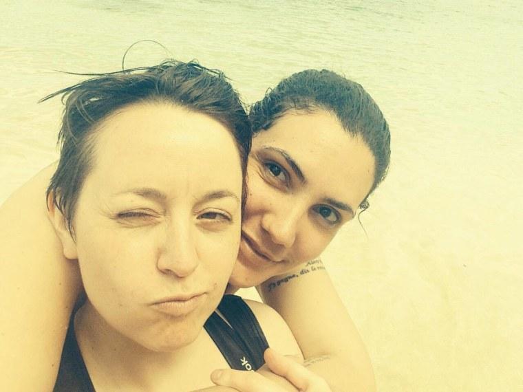 Allison Harris (left) and Raquel Rivera in Puerto Rico.