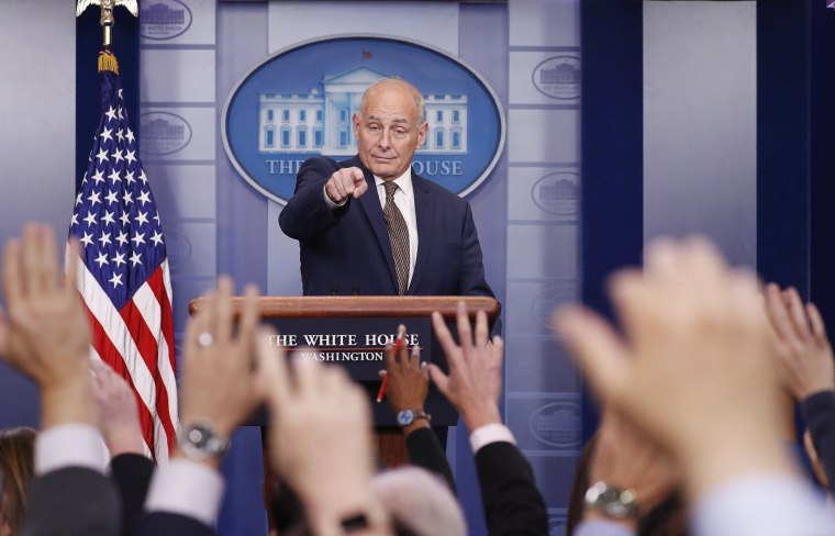 Image: White House Chief of Staff Kelly takes questions from the media as he addresses the daily briefing at the White House in Washington