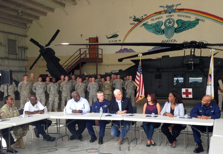 Image: Vice President Mike Pence, Karen Pence and Del. Stacey Plaskett