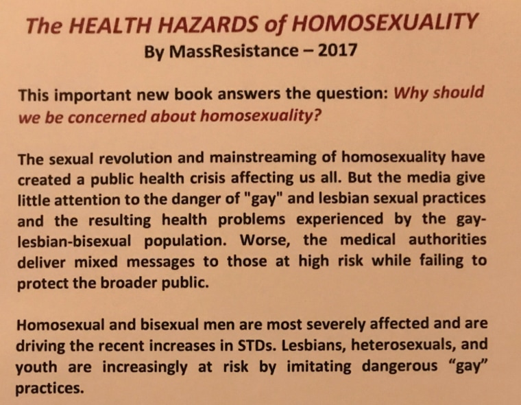 "A portion of the contents of ""The Health Hazards of Homosexuality"" pamphlet distributed at the Values Voter Summit."