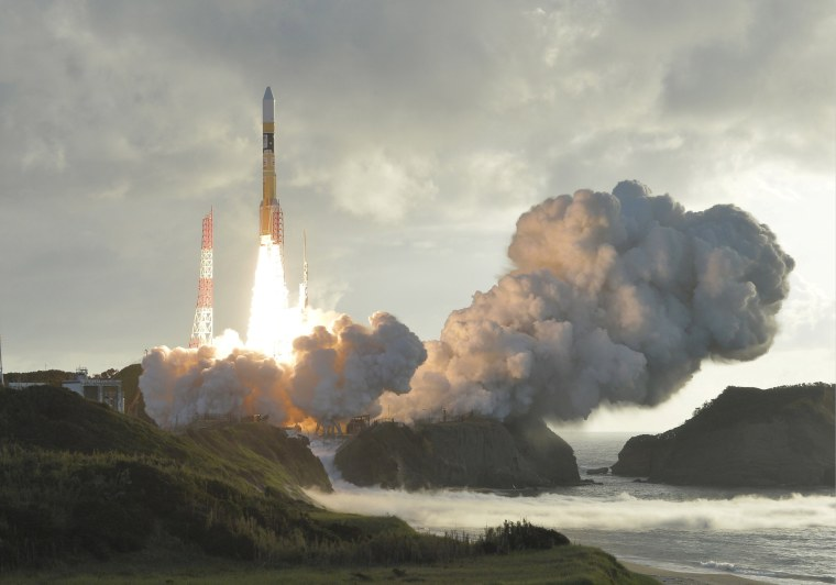 Image: A Michibiki satellite lifts off aboard an H-2A rocket from Japan's southern Tanegashima space port
