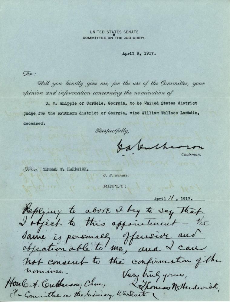 Image: Senator Thomas Hardwick's Blue Slip for U.V. Whipple, April 11, 1917.