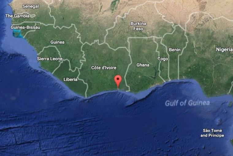 Image: A map indicating the location of Abidjan, Ivory Coast
