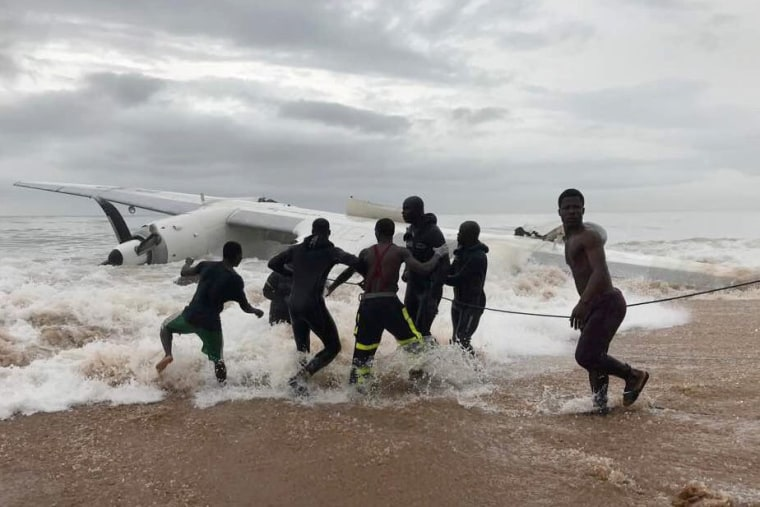 Image: The wreckage of the cargo plane after it crashed off the Ivory Coast