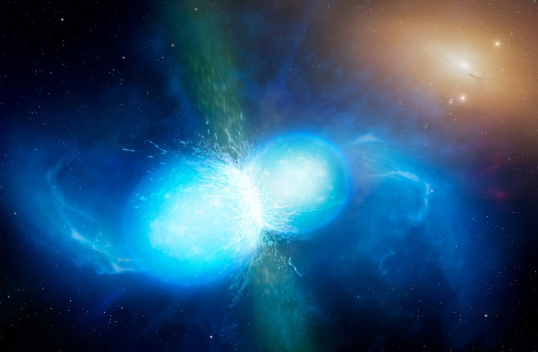 Image: This artist's impression shows two tiny but very dense neutron stars at the point at which they merge and explode as a kilonova