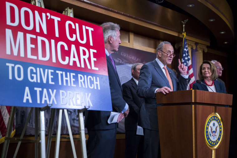 Image: Congressional Democrats call on President Donald Trump to keep his campaign promises to not cut entitlement programs like Social Security and Medicaid.