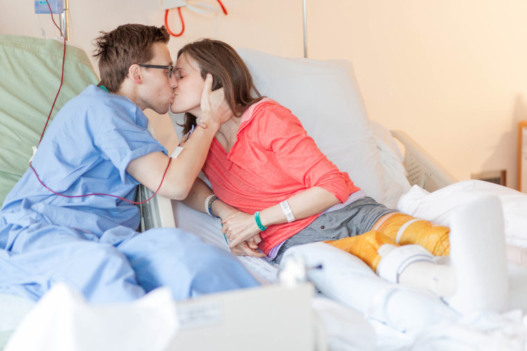 Patrick Downes and Jessica Kensky reuniting at the hospital after the 2013 bombing.