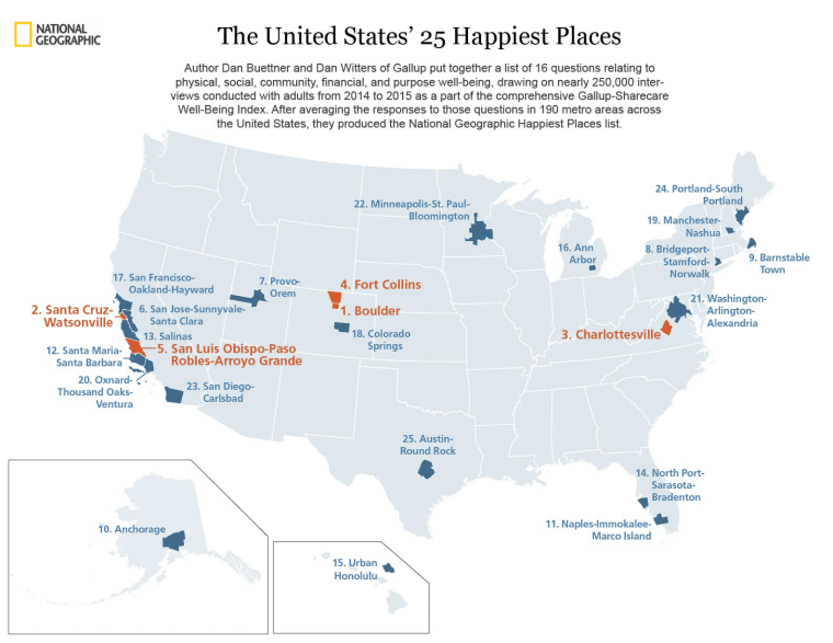 National Geographic happiest U.S. cities