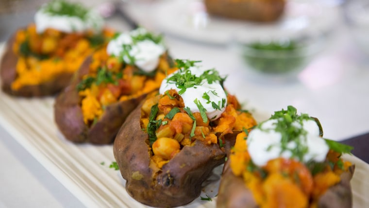 Ella Mills' Chickpea Chili with Baked Sweet Potatoes