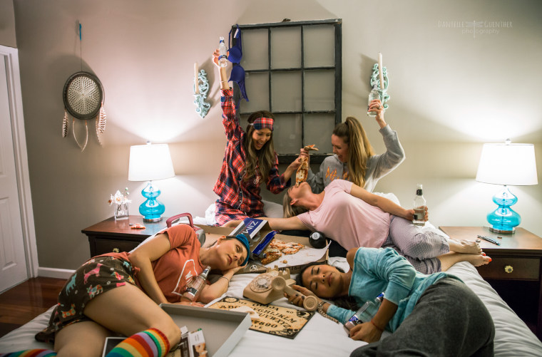 """""""Old school sleepover,"""" from Guenther's What Women Want series."""